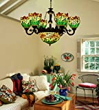 Makenier Vintage Tiffany Style Stained Glass 6 Arms Green Dragonfly Chandelier with 12 Inches Inverted Ceiling Pendant Lamp