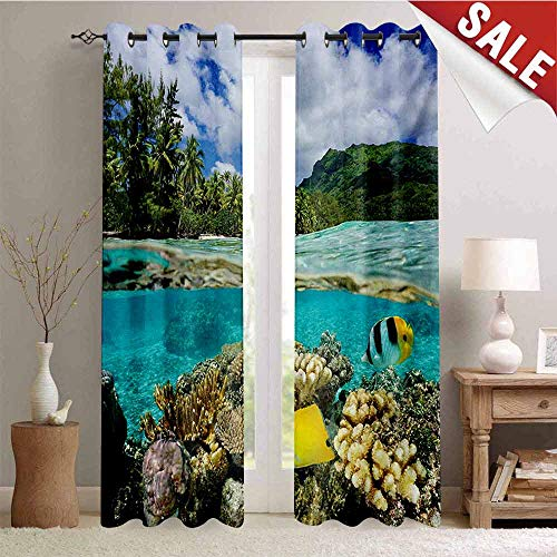 Hengshu Island Decorative Curtains for Living Room Pacific Ocean French Polynesia Lagoon of Huahine Lush Shore with Corals and Fish Waterproof Window Curtain W72 x L108 Inch Multicolor