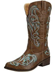 SheSole Womens Western Cowgirl Cowboy Boots Wide Calf Pointed Toe Embroidered