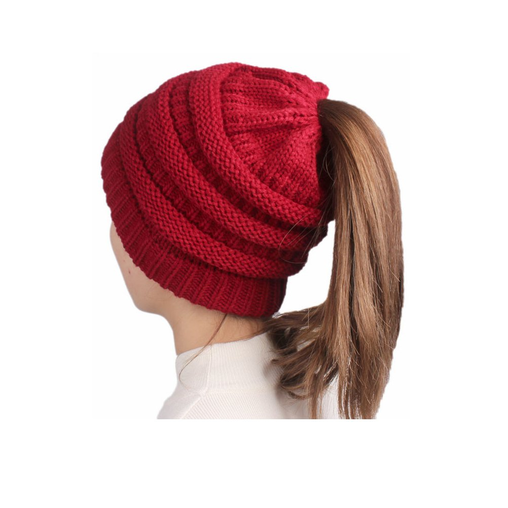 BeanieTail Soft Stretch Cable Knit Messy High Bun Ponytail Beanie Hat OPOO