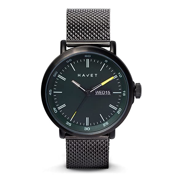 HAVET | Reloj de hombre Stabben de acero color antracita con brazalete de malla: Amazon.es: Relojes