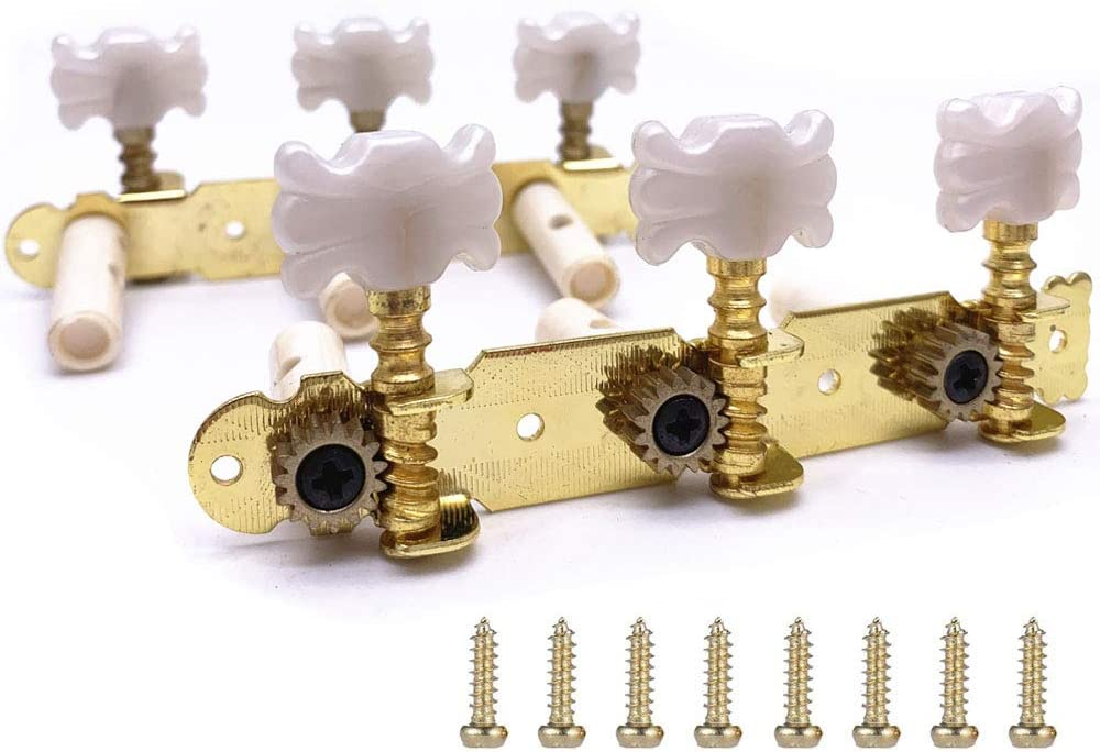 Jiayouy 2Pcs Classical Guitar String Tuners Keys Machine Heads Tuning Pegs 3 Left 3 Right with Mount Screws Butterfly Pearl white Buttons