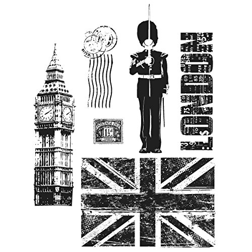 Stampers Anonymous Tim Holtz Cling Rubber Stamp Set, 7 by 8.5-Inch, London Sights