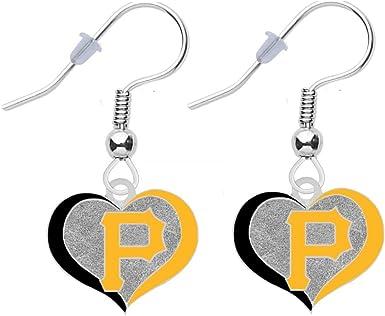 Pittsburgh Pirates Swirl Heart Earrings Pierced