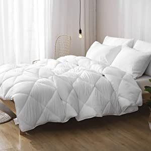 DWR All-Season Cloud Down Alternative Comforter Duvet - 3-Piece Ultra-Soft Washed 3D-air Breathable Eucalyptus Microfiber Comforter Set with Shams (Full/Queen, Solid White)