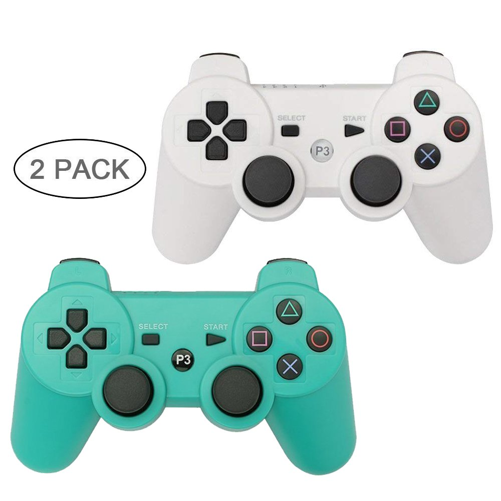 YOUCable PS3 Controller Wireless Playstation 3 Remote Dualshock 3 Bluetooth Gamepad (White+Green)