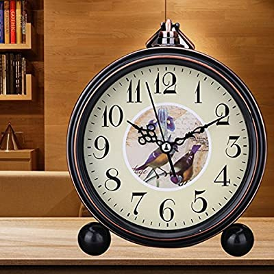 "Kaimao Vintage Style Alarm Clock 5"" (13cm) Silent Antique Retro Table Clock with Hanging Loop"