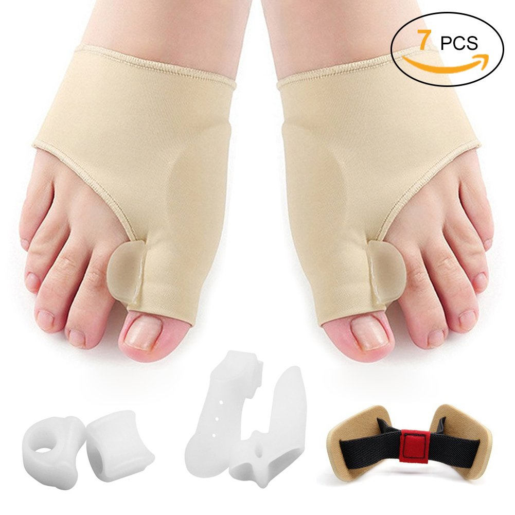 Sexybeauty Toe Separators Bunion Corrector & Bunion Relief Protector Sleeves Kit, Treat Pain in Hallux Valgus, Tailors Bunion, Big Toe Joint, Hammer Toe, Toe Separators Spacers Aid surgery treatment