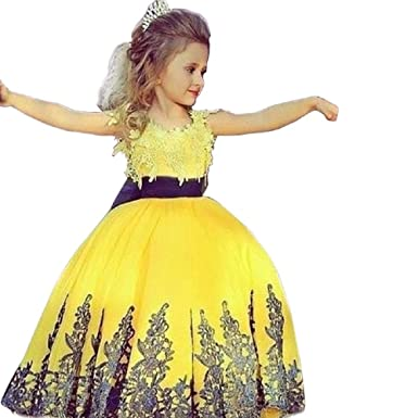 The London Store Baby Girls Yellow Satin Ball Gown For Kids Amazon