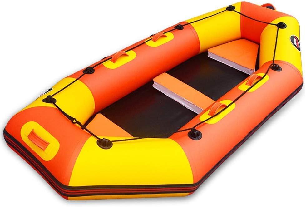 JIEJIE Kayak Profesional Viaje en Bote de Espesado de Piel Kayak Inflable del Barco de Pesca Hard Attack Inferior del Barco de Goma Barco Kayak Inflable, PVC, Naranja, 2.6M QIANGQIANG