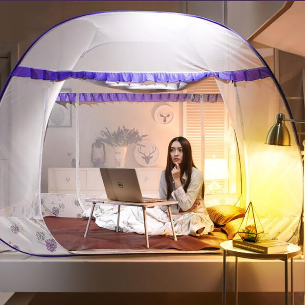 Dome pure color baby mosquito net,Cartoon Yurt Tulle Double Bracket Single mosquito-curtain Dorm Household bed canopies-purple Queen1