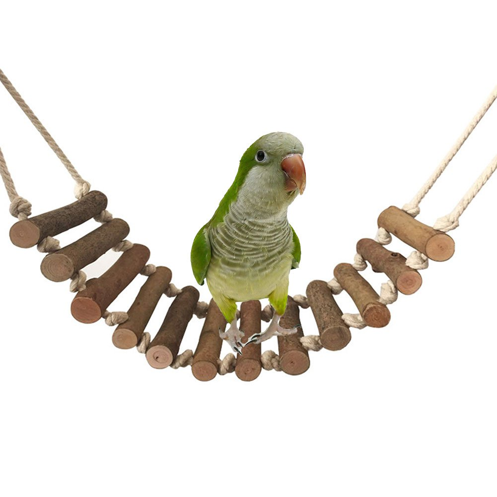 19.7 inch Natural Climbing Wood Ladder Large Bird Swing Toy for Parrot African Greys Cockatoo Macaw Budgie Parakeet Cockatiels Conure Lovebird Finch Hamster Rat Gerbil Chinchilla Guinea Pig Cage Perch Keersi