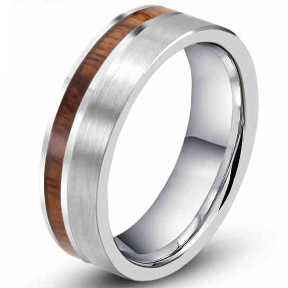 Mens Womens 8mm Tungsten Silver Ring Vintage Wedding Engagement White Band with 100% Koa Wood Flat Top Fashion Month tg-ring218-8-8.5