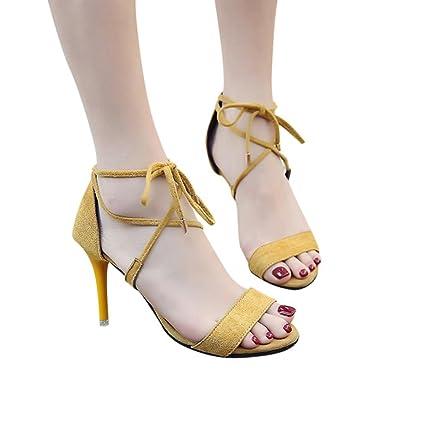 ff0a5016fda42 Sandales Minimalistes à Petits Talons en Suédine,Xinan Femme Fête Soirée  Chaussures Talons Hauts Bride