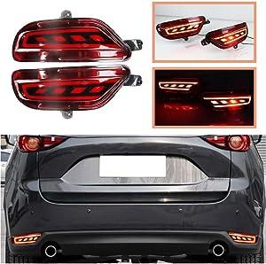 2PCS Kit For Mazda CX-5 2017-2020 Car LED Tail Lamp As Brake Light & Driving Lamp Waterproof Grid-type