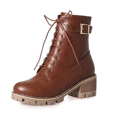 AgooLar Damen Rein Rund Zehe Reißverschluss Stiefel, Rot, 34