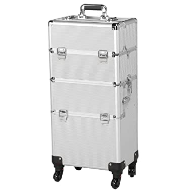 Yaheetech 3 in 1 Professional Aluminum Rolling Makeup Trolley Artist Train Case Cosmetic Organizer Makeup Case(4 Removable Universal Wheels) Silver
