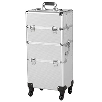 493654a21ed1 Yaheetech 3 in 1 Professional Aluminum Rolling Makeup Trolley Artist Train  Case Cosmetic Organizer...
