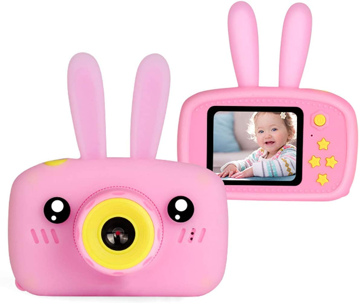 Pink Shockproof 8MP Mini Cam with 16G SD Card Best Birthday Party Gift Toys for 4-8 Year Old Children Sdoveb Kids Camera Rechargeable Children Digital Cameras with Rabbit Cover for Girl Boys