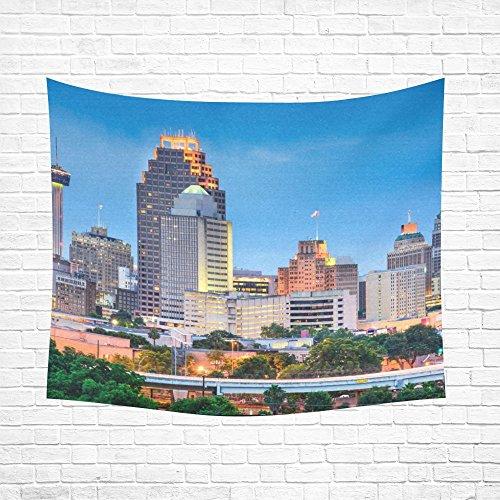 Unique Debora Custom Home Decor Cotton Linen Tapestry Wall Art Wall Tapestry with San Antonio Texas Usa Skyline
