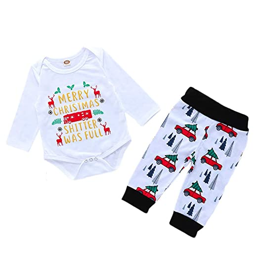 5f9b592abef5 Amazon.com  2pcs Infant Xmas Outfits Set Baby Merry Christmas Romper ...