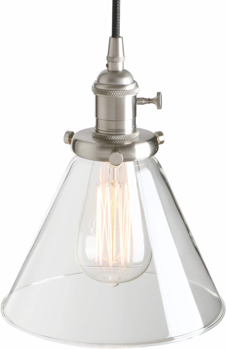 Pathson - Lámpara de techo colgante de cristal de 7,3 pulgadas, diseño retro industrial