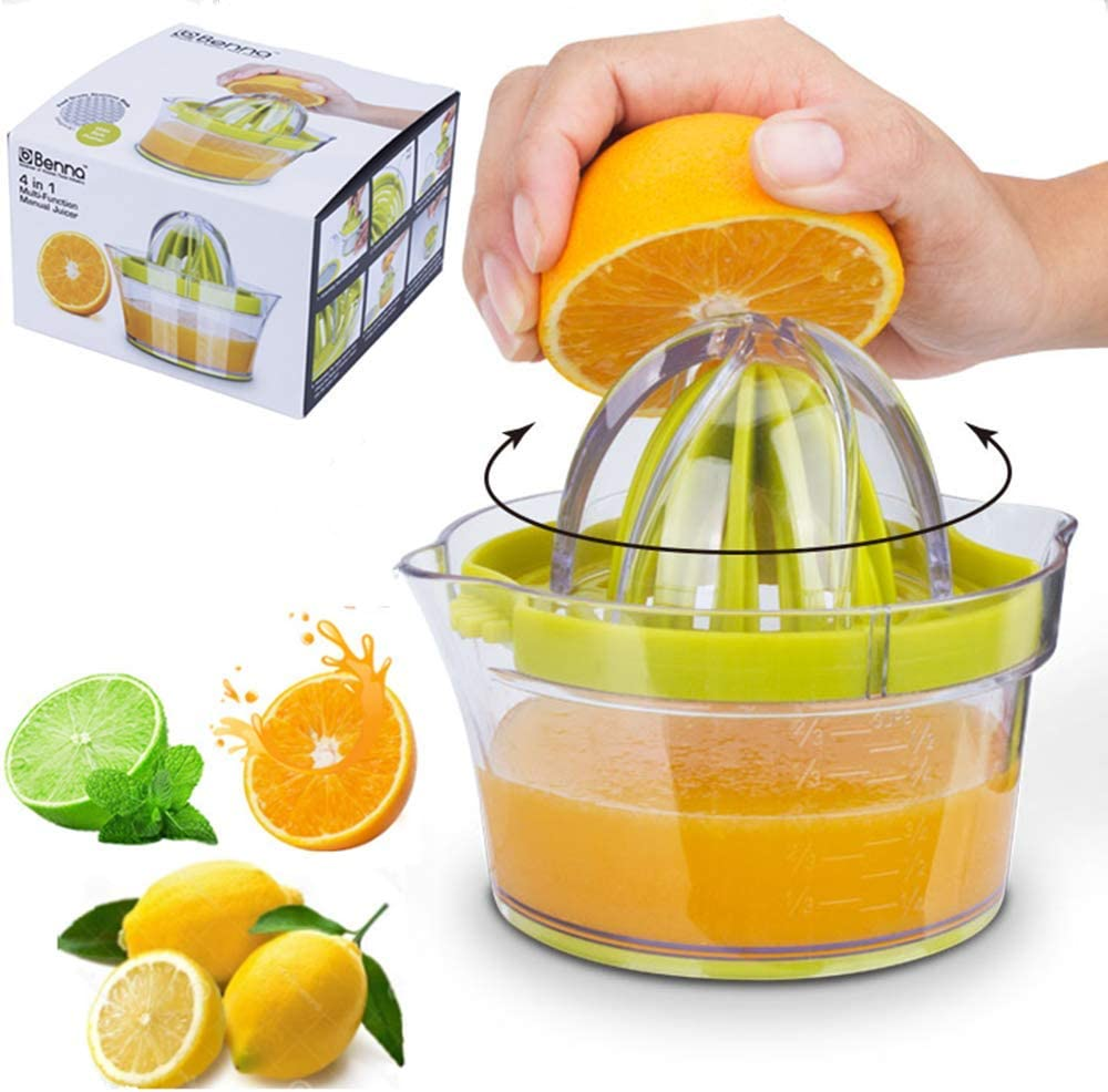 Citrus Juicer, Orange Juicer, with Strainer Built-in Measuring Cup and Grater Anti-Slip Reamer Extraction Egg Separator 12OZ