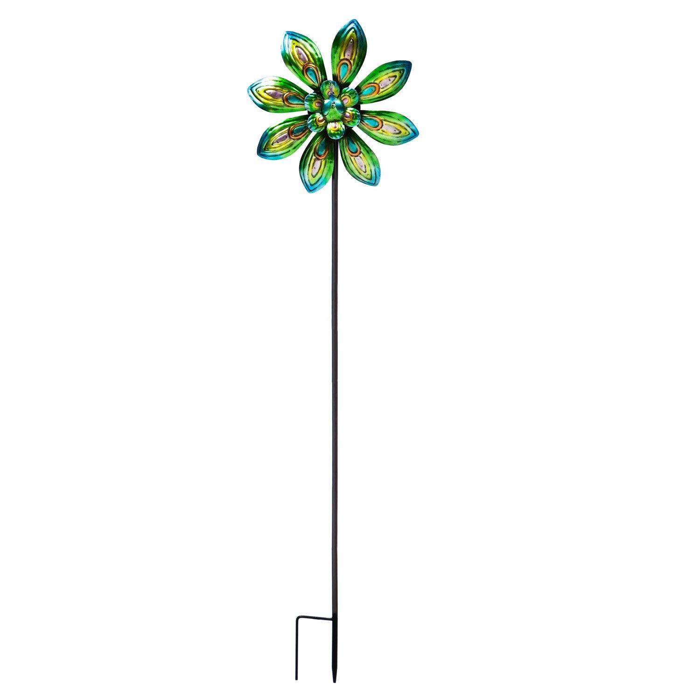 Evergreen Garden Peacock Outdoor Safe Metal Kinetic Wind Spinner Garden Stake