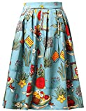 Ladies A Line Pleated Flared Vintage Skirt Cotton Size L CL6294-6