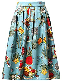 GRACE KARIN Women's Vintage Swing Skirts A-Line Dress with Pocket