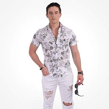 Camisa Social Manga Curta Masculina Slim Floral Verde 500207  Amazon ... 4dd588b27c16d