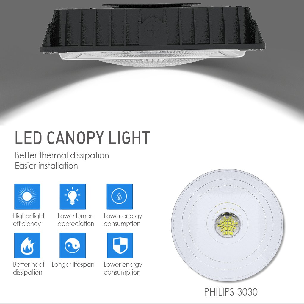 2 Pack 70W LED Canopy Light UL Listed and DLC Qualified Waterproof Carport Lights for Playground Gym Warehouse Garage 8000lm 5000k Daylight White 11 x 11 BS-CYL-70W Moobibear 350W HPS//HID Replacement 8000lm 5000k Daylight White 11 x 11