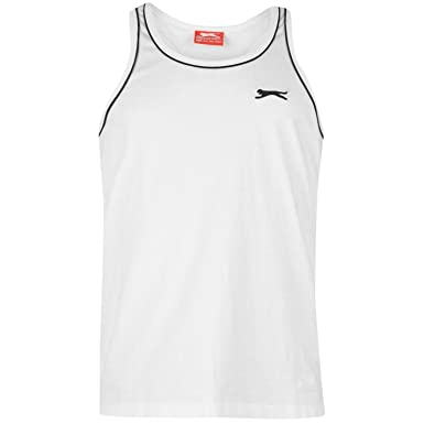 301dad4c245 Slazenger Mens Muscle Vest Tank Crop Top Crew Neck Sleeveless Clothing  Black XS