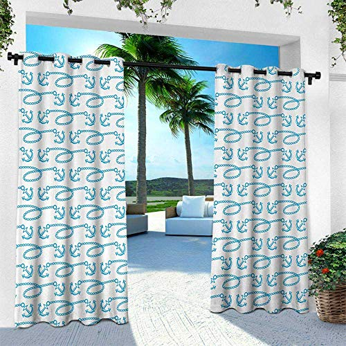(Hengshu Anchor, Exterior/Outside Curtains,Little Anchors with Chains Naval Loops Sailing Theme Cartoon Style Ocean Travel, W84 x L96 Inch, Pale Blue White)