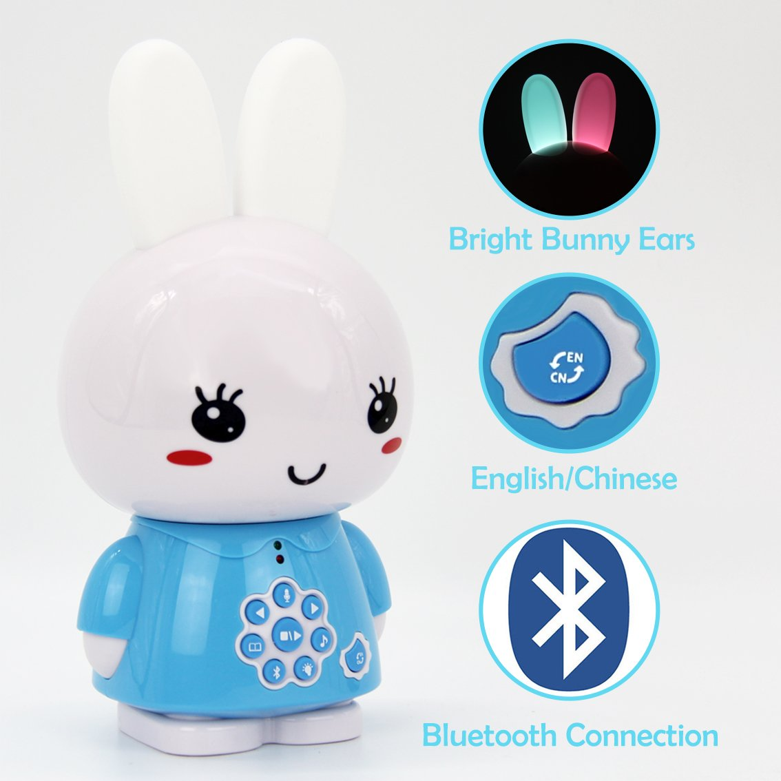 alilo Honey Bunny 8GB MP3 Player Bluetooth with Bilingual Story Song Kids Early Learning Toy Night Light (Blue)