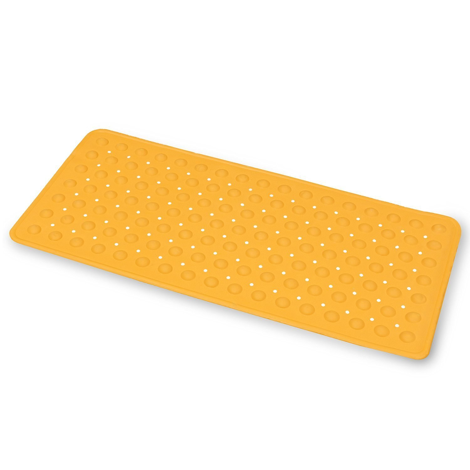 Emmzoe Bubble Rubber Anti-Slip Bath Mat 14 x 30 Inches Kids & Baby Friendly - Natural Rubber, Non-Toxic, Eco-Friendly, Mildew and Stain Resistant (Orange)