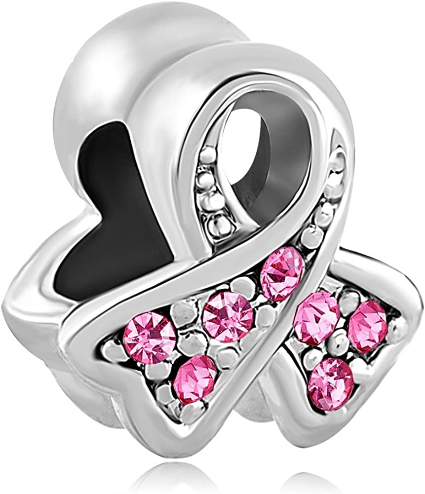 Lifequeen Faith Hope Love Charm Pink Ribbon Fight Breast Cancer Awareness Charms for Bracelets