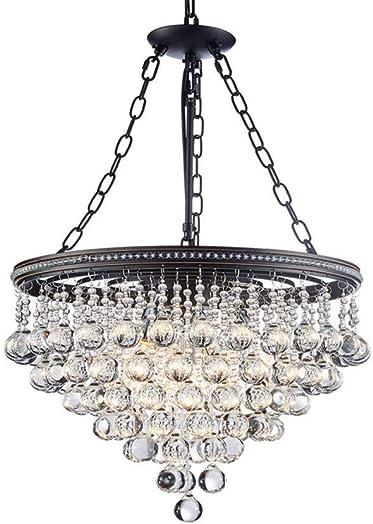 Saint Mossi Modern K9 Crystal Raindrop Chandelier Lighting Flush Mount LED Ceiling Light Fixture Pendant Lamp for Dining Room Bathroom Bedroom Livingroom 6 E12 Bulbs Required H45 X D18