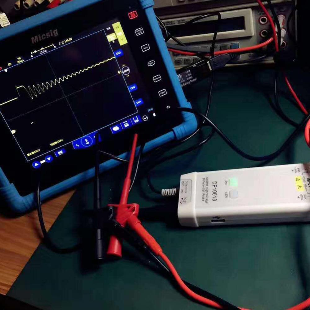 Akozon Sonda del Osciloscopio DP10013 1300V 100MHz Sonda Diferencial de Alto Voltaje 3.5ns Tiempo de Subida 50X 500X Atenuaci/ón