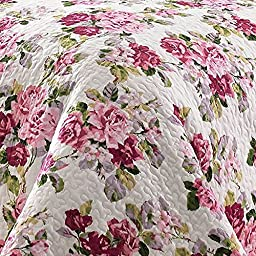 2 Piece Fresh Floral Patterned Reversible Quilt Set Twin Size, Featuring All Over Flower Motif Design Bedding, Relaxing Blossom Garden Colorful Flowers Design, Chic Girls Bedroom, Pink, Multicolor
