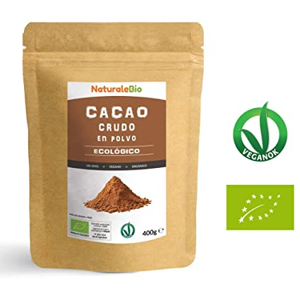 Cacao crudo Ecológico en Polvo 400g   Organic Raw Cacao Powder   100% Bio, Natural y Puro   Producido en Perú a partir de la planta Theobroma Cacao   Rico ...