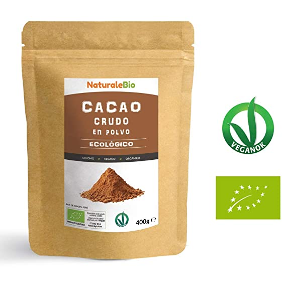 Cacao crudo Ecológico en Polvo 400g | Organic Raw Cacao Powder | 100% Bio,