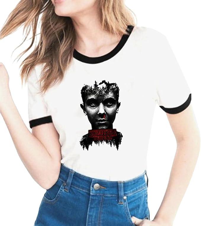 Image of Yuanu Amantes Spring Verano Tamaño Grande Manga Corta Cuello Redondo Camiseta, Suave Cómodo Slim T-Shirt con Cartas/Patrones Temática Impresión sobre Stranger Things