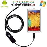Android Endoscope Camera, USB Microscope 5.5MM Lens Mini Borescope HD EndoscopeInspection& Car Testing Camera With Mirror & Hook (3.5M/11.5Ft)