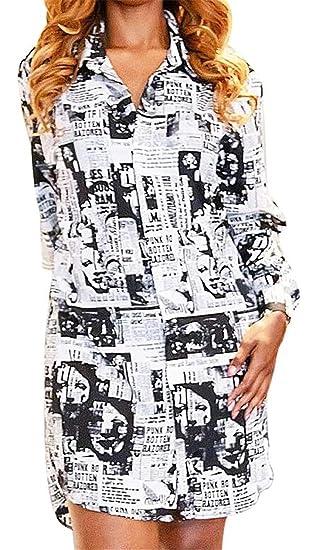 0fa541b70dc42 Fubotevic Women Classic Print Button Up Baggy Large Size Long Sleeve Turn  Down Collar Shirt Dress