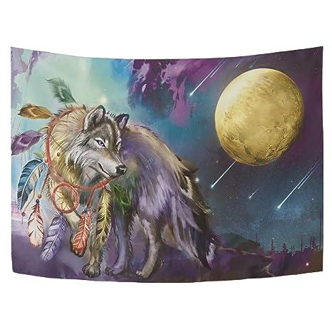 Amazon.com: WOLF Tapiz atrapasueños luna galaxia bosque ...