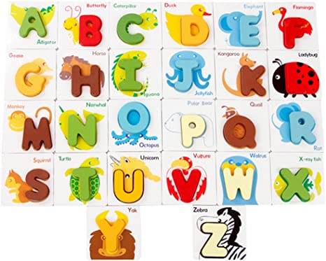 Baby Kids ABC Alphabet Letters Cards Animals Shape Colors Cognitive Toy Gift