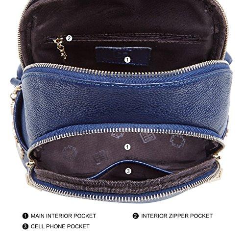 Black Leather BOYATU Purses Mini Travel Women Backpack Bag Shoulder Genuine Blue for Girls 55wprxfPnq