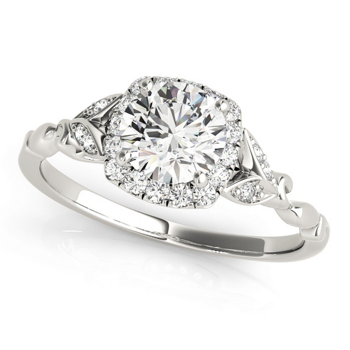 Diamond Antique Style Engagement Ring Palladium (0.89ct) by Allurez