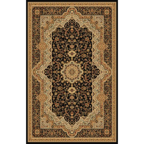 (Mona Lisa Rug Collection ML T06 Black 5 x 7 Persiain Area Rugs, 5-Feet 4-Inch by 7-Feet 5-Inch, Black)